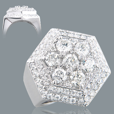 Mens Diamond Rings 18K Gold Designer Ring 6ct Main Image