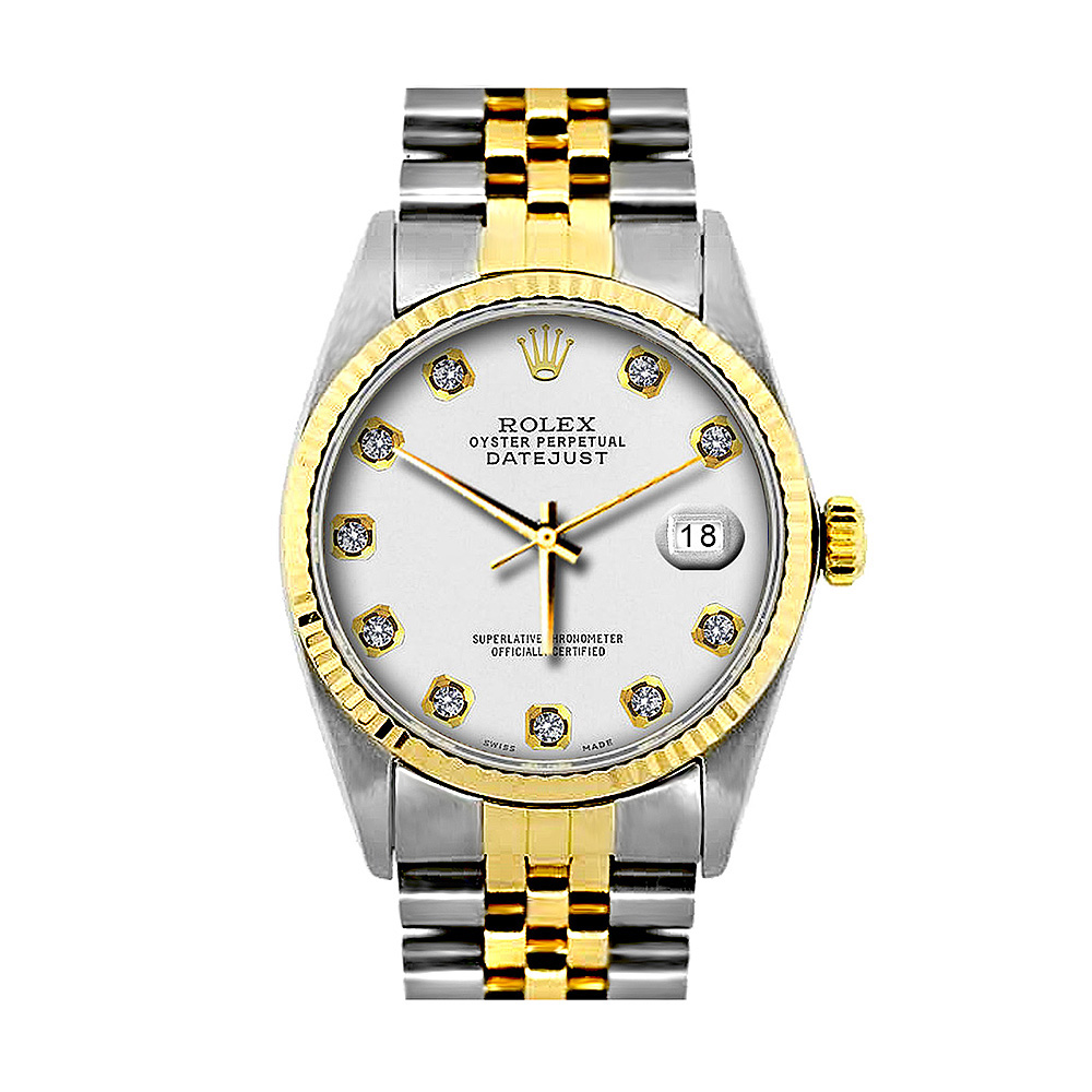 Mens Diamond Rolex Oyster Perpetual Datejust Gold & Stainless Steel Watch White Dial Main Image