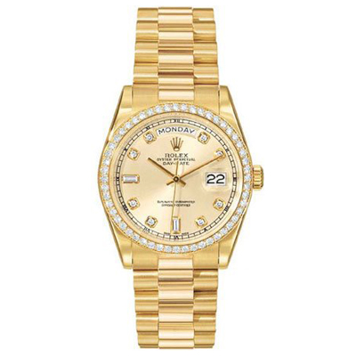 Mens Diamond ROLEX Oyster Watch Perpetual Day-Date Main Image