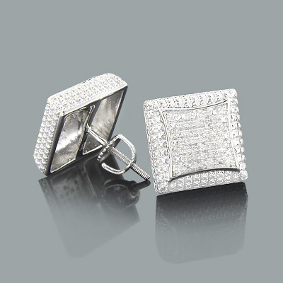 Mens Diamond Stud Earrings 0.17ct Sterling Silver