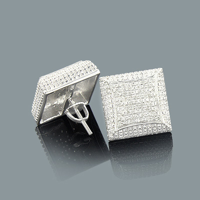 Mens Diamond Stud Earrings 0.21ct Sterling Silver Main Image