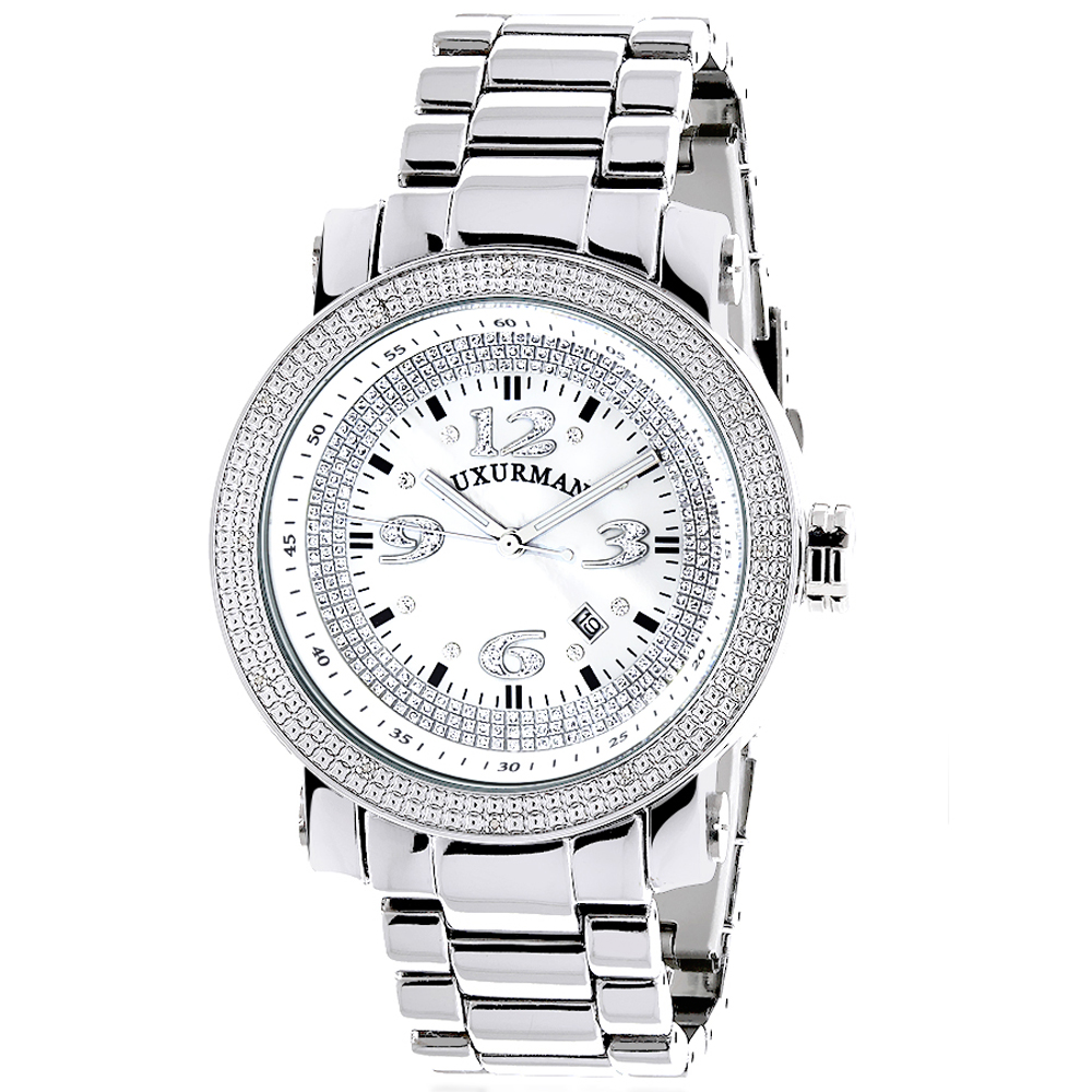 Mens Diamond Watch 0.12 ct Iced Out Luxurman Main Image