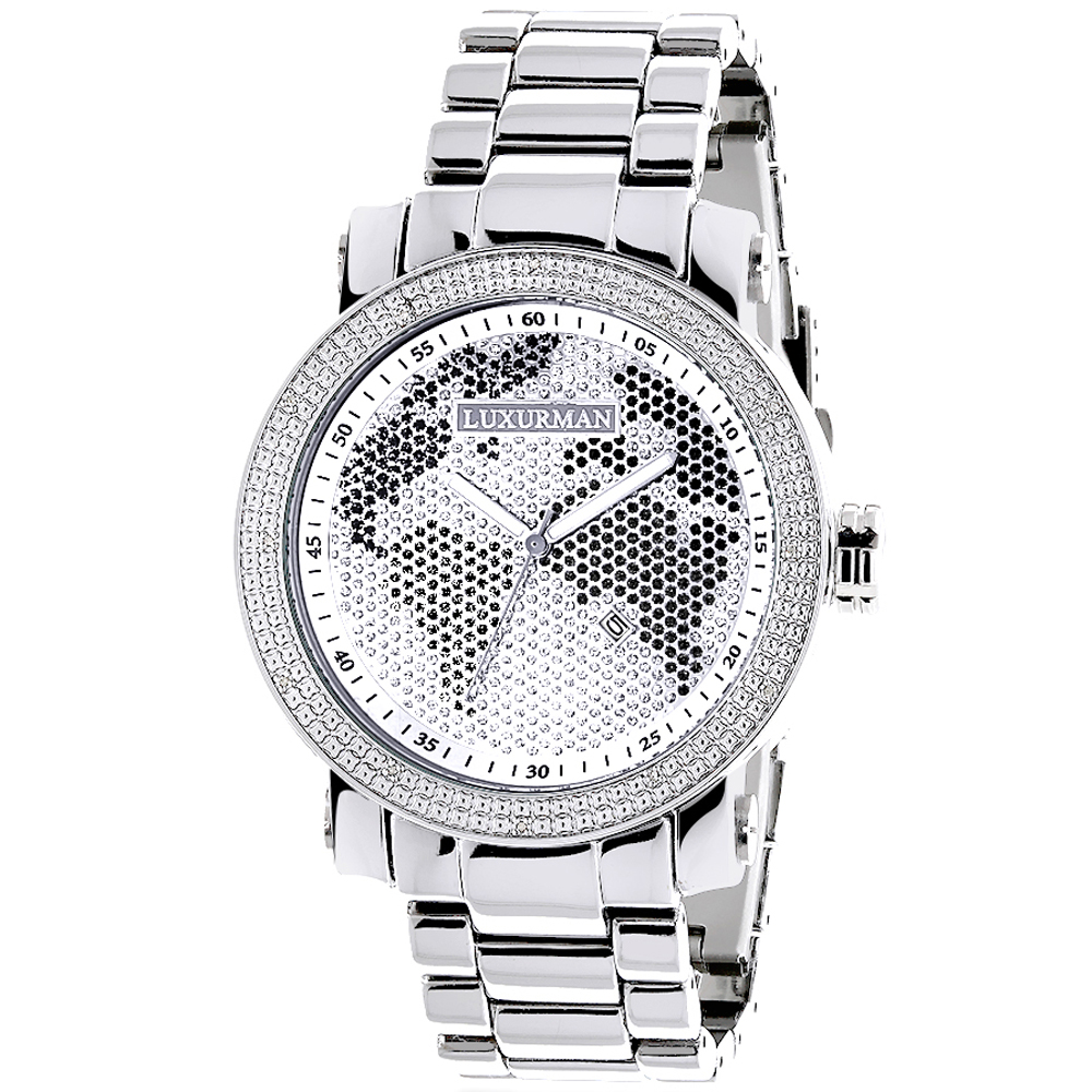 Mens Diamond Watch 0.12 ct Luxurman Black White Map Main Image