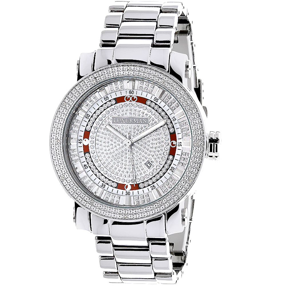 Mens Diamond Watch 0.12ct Luxurman Main Image