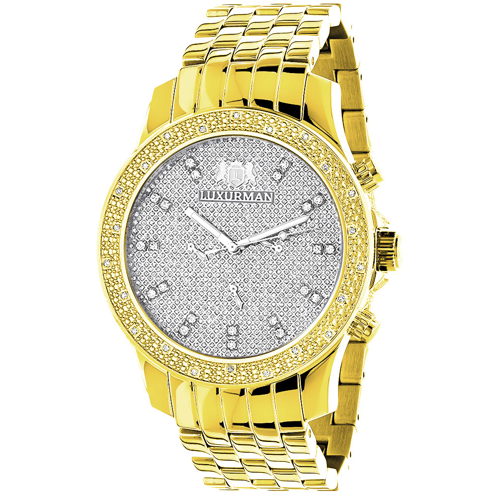 Men's Diamond Watch Yellow Gold Plated Luxurman Raptor 025ct w Metal Band