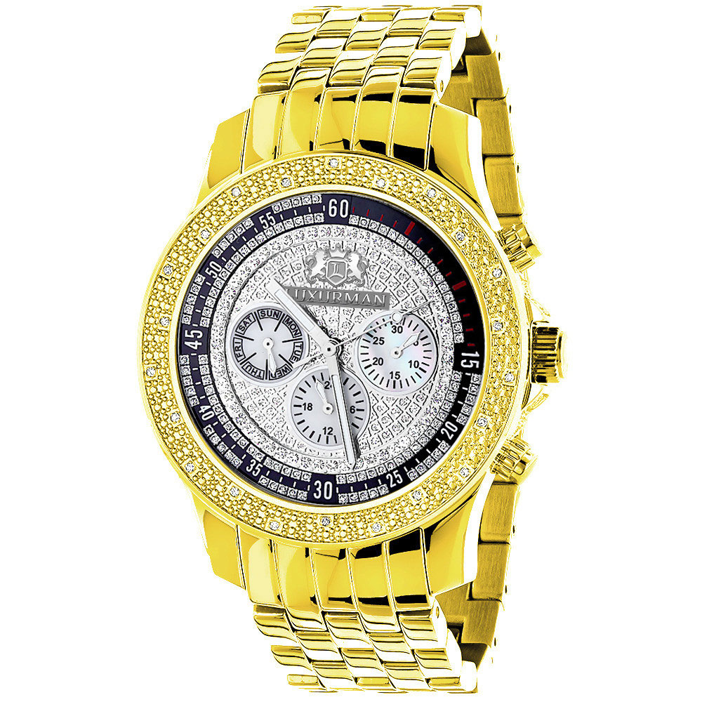 Yellow Gold Plated Real Diamond Watch for Men Luxurman Raptor 0.25ct Metal Band Main Image