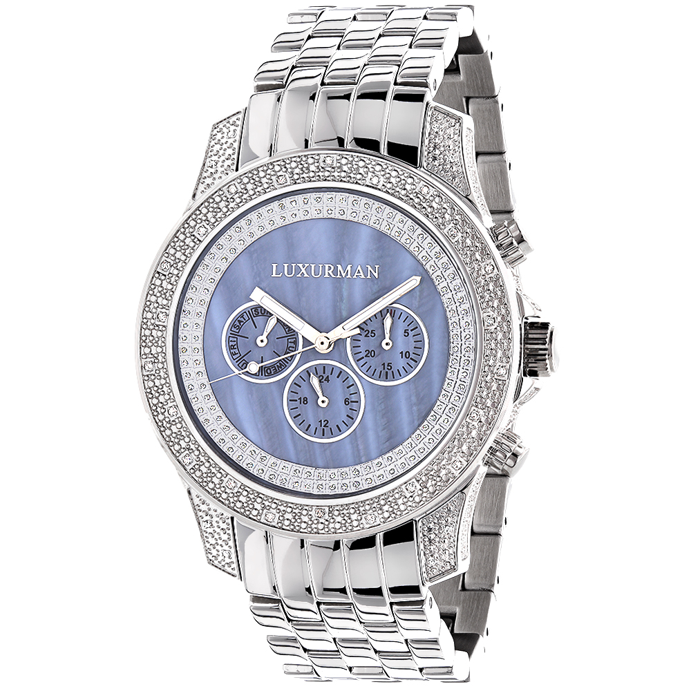 Mens Diamond Watches Blue MOP 0.5ct Luxurman Freeze Main Image