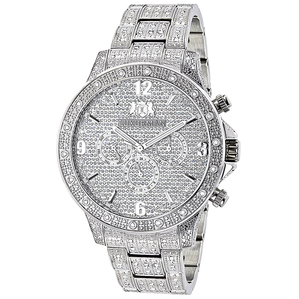 Mens Diamond Watches Fully Iced Out Watch 1.25ct Luxurman Liberty Swiss Mvt Main Image