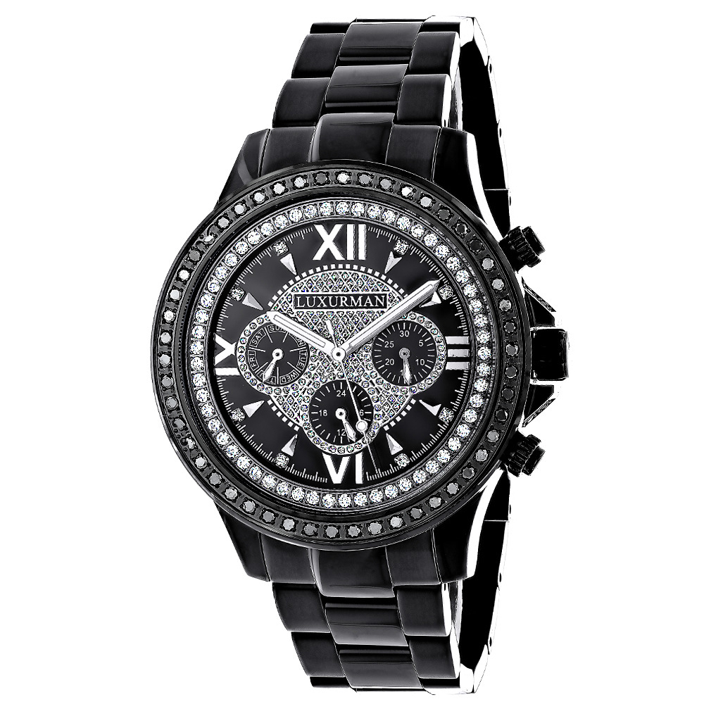 mens diamond watches luxurman black diamond watch 2ct liberty. Black Bedroom Furniture Sets. Home Design Ideas