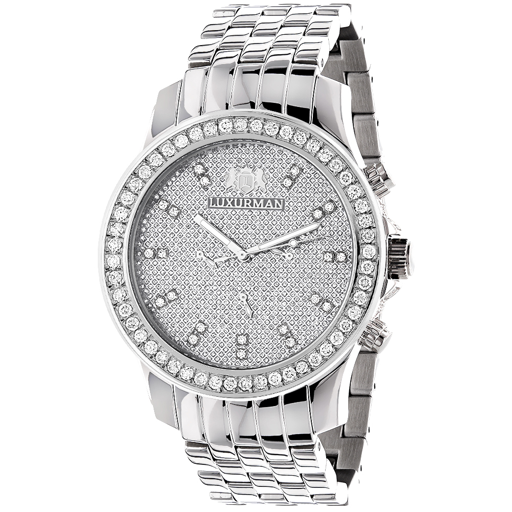 Mens Diamond Watches: LUXURMAN Diamond Watch 2.5ct