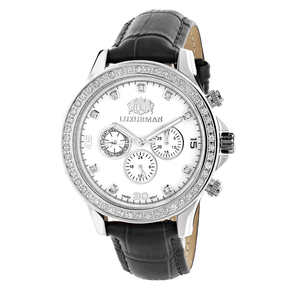Men's Diamond Watches: Luxurman Liberty 2ct Black Leather Band White MOP Main Image