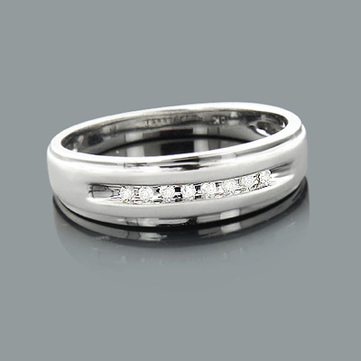 Mens Diamond Wedding Band 0.09ct 10K Gold