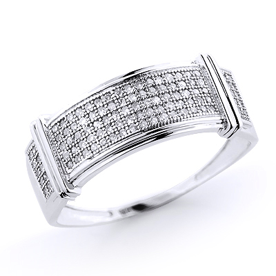 Mens Diamond Wedding Band 10K Gold 0.34ct
