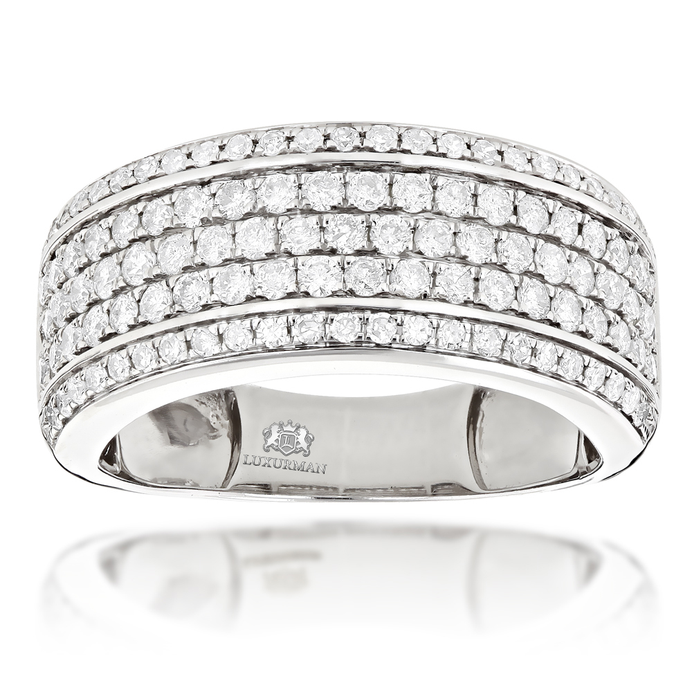 Mens Diamond Wedding Band Designer Ring by Luxurman 1.5ct White Image