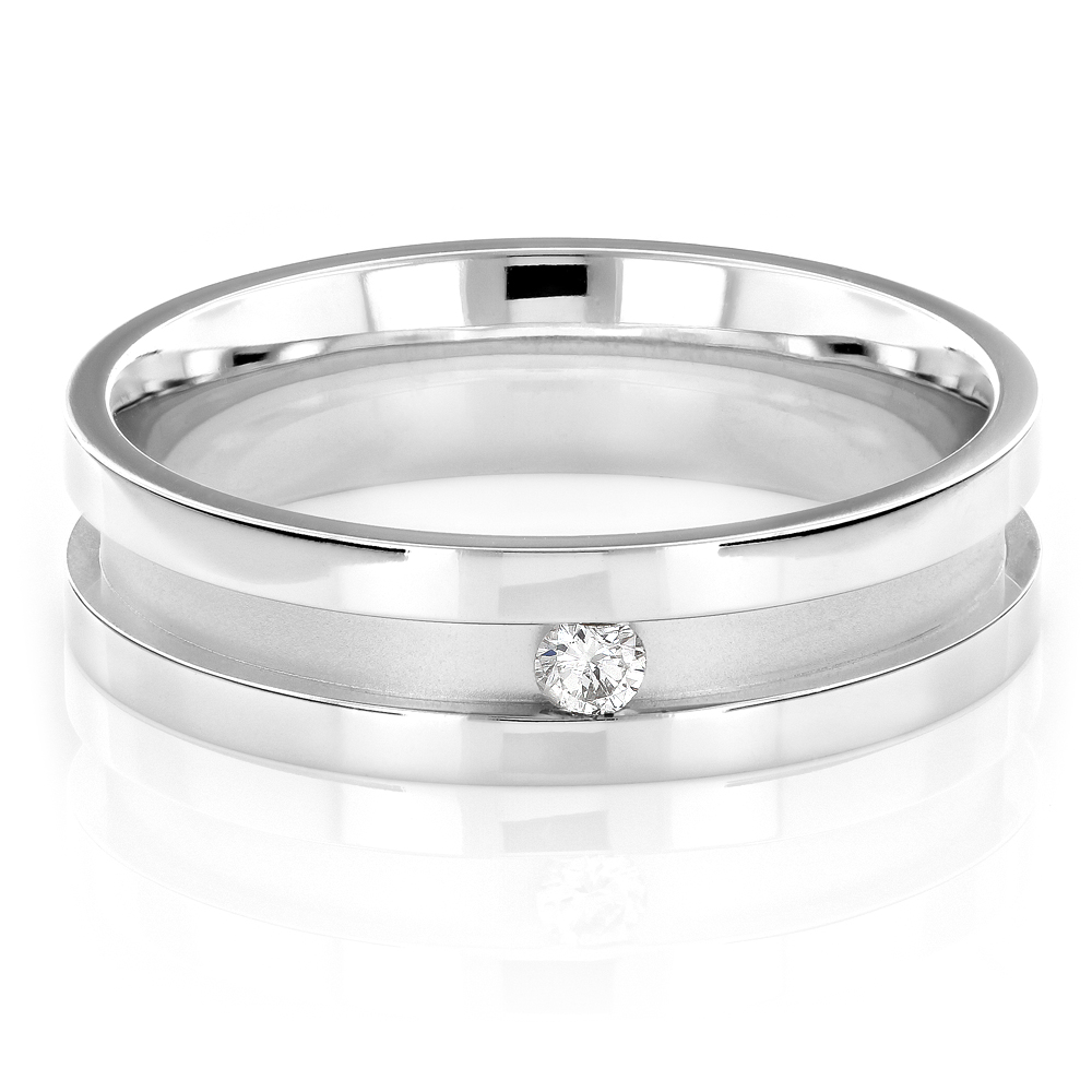 Mens Diamond Wedding Band Engagement Ring 0.1ct 14K Gold Comfort Fit Main White Image