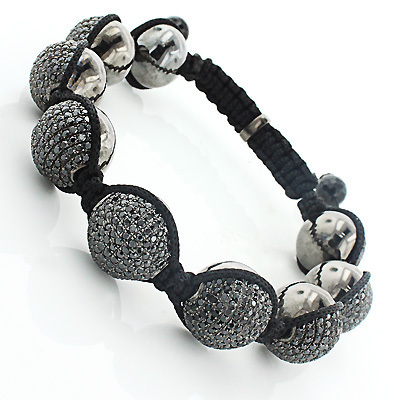 Mens Disco Ball Jewelry: Black Stones Bracelet Main Image