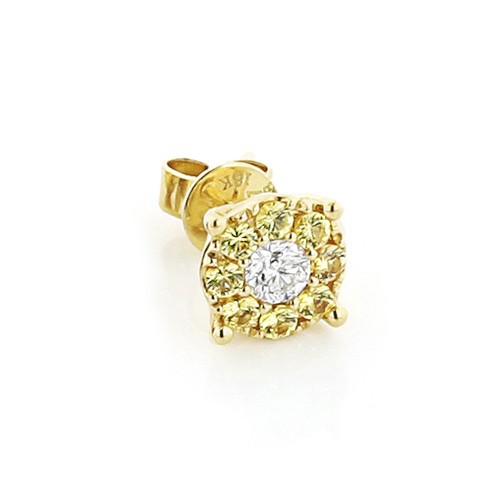 Mens Earrings: Yellow Sapphires White Diamond Studs 1/2ct 18K Gold    mens-earrings-white-and-yellow-diamond-stud-earrings-1ct-18k-gold_1