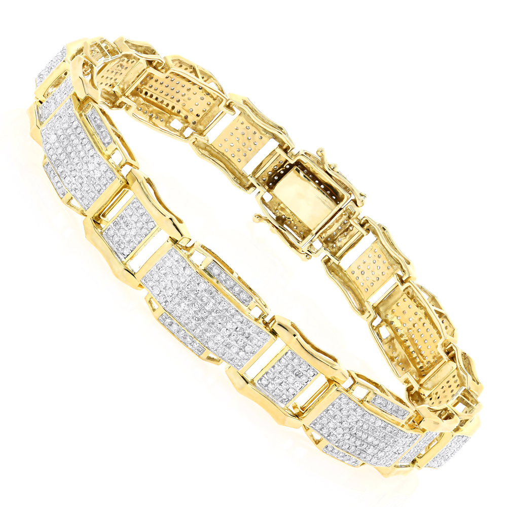 Mens Gold Bracelet with Diamonds 10K 3.44ct Yellow Image