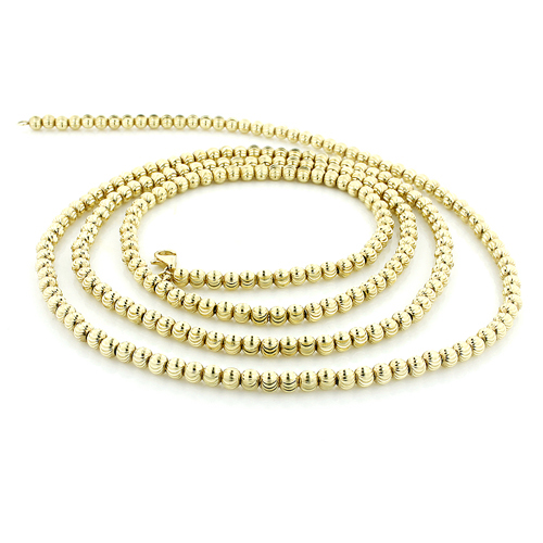 Mens gold chains yellow gold ball moon cut chain 10k 4 mm aloadofball Choice Image