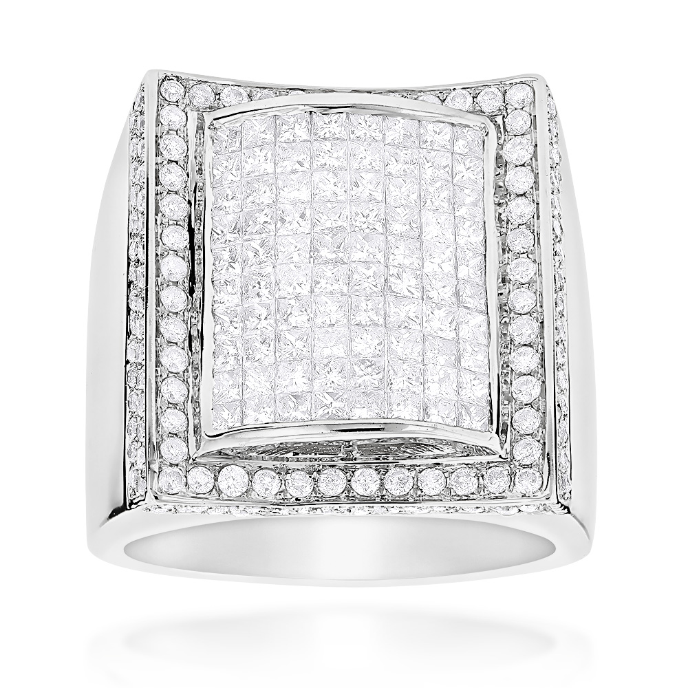 Mens Gold Ring with Princess Cut Round Diamonds 3.67ct 14K White Image