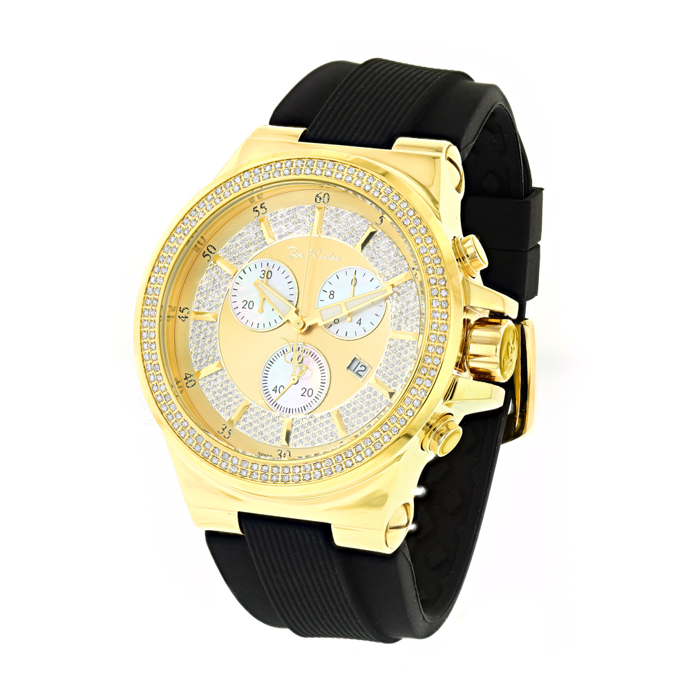 Mens Joe Rodeo Liberty Diamond  Watch 1.5ct Yellow Gold Plated Main Image