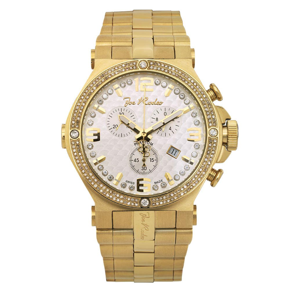 Mens Joe Rodeo Phantom Diamond Watch 2.25ct Yellow Gold Plt Main Image