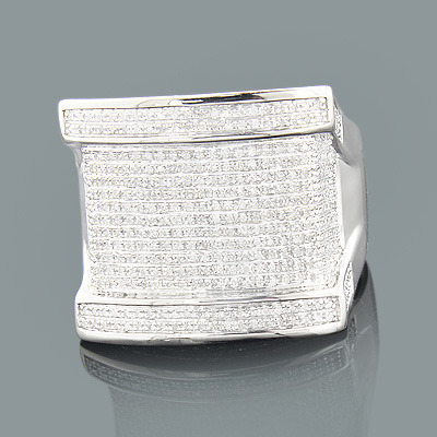 Mens Large Silver Ring with Diamonds 0.79ct Main Image
