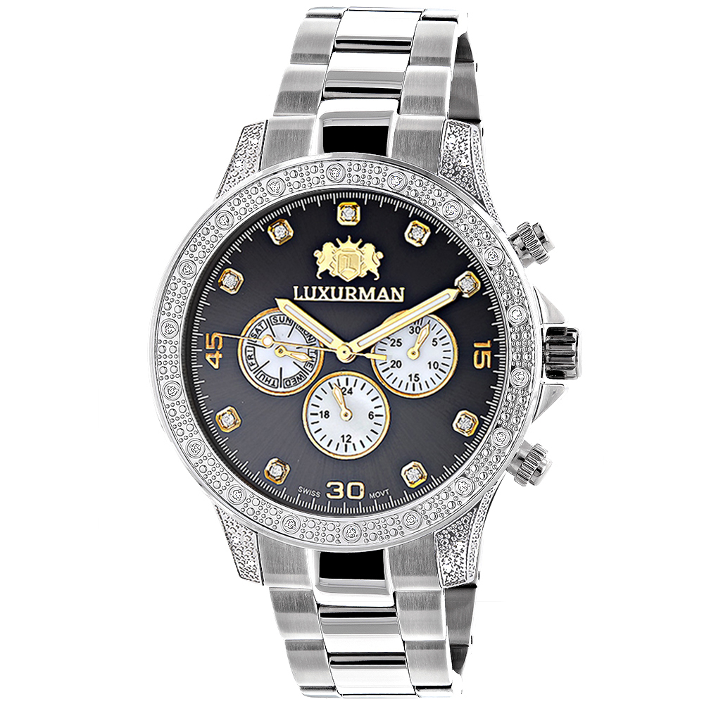 Mens Luxurman Diamond Watch 0.5ct Two Tone Liberty Swiss Movt