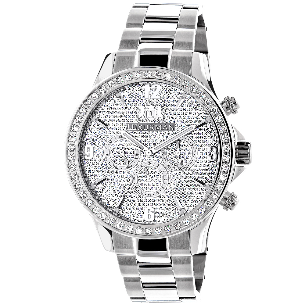 Mens Luxurman Watches: Large Diamond Bezel Watch 2ct Swiss Mvt Main Image