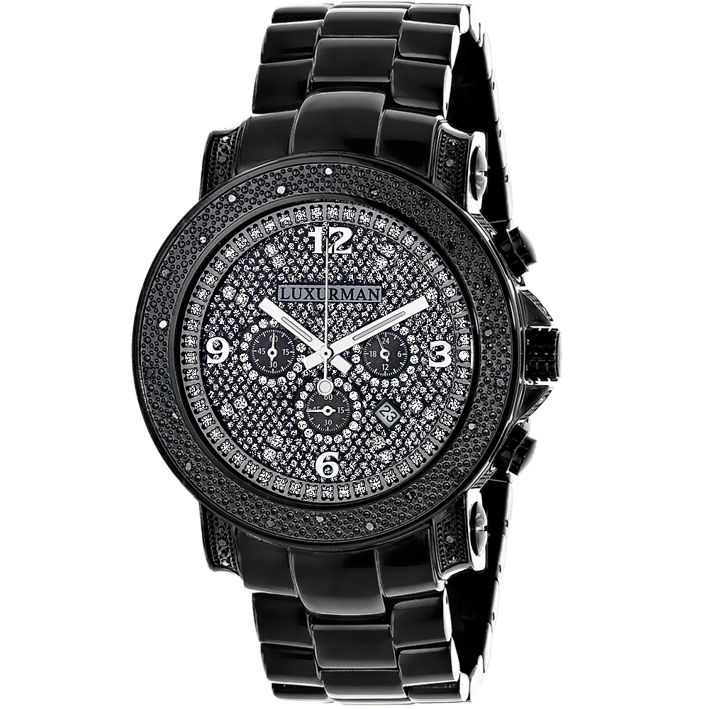 Mens Oversized Black Diamond Watch by LUXURMAN 0.75ct Chronograph Main Image