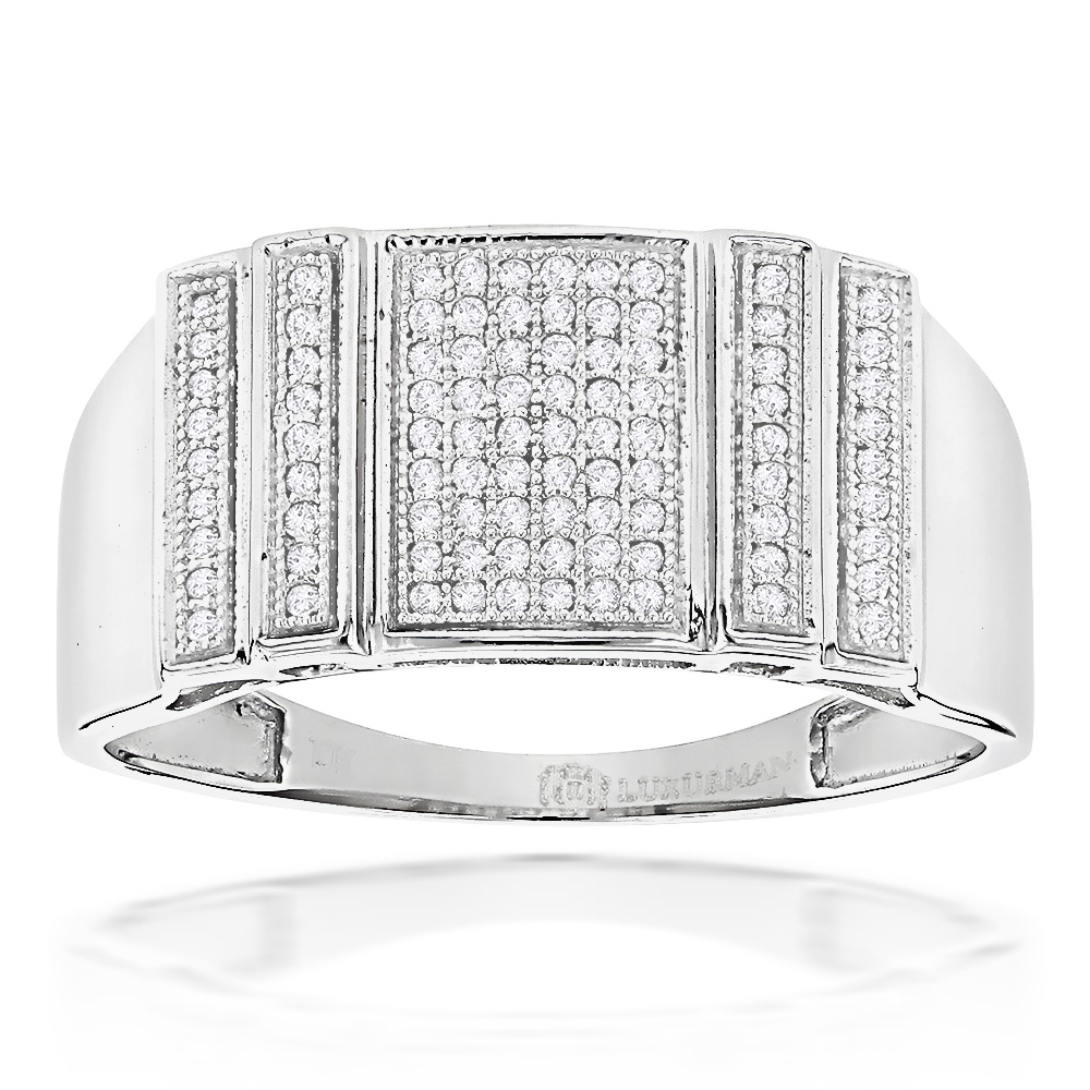 Mens Pave Diamond Ring 0.3ct Solid Gold White Image