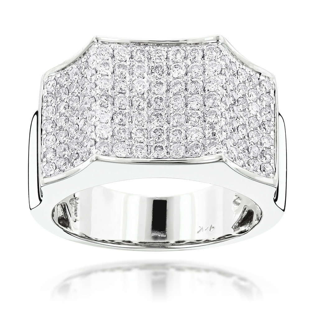 Mens Pave Diamond Ring 14K 2.07ct White Image