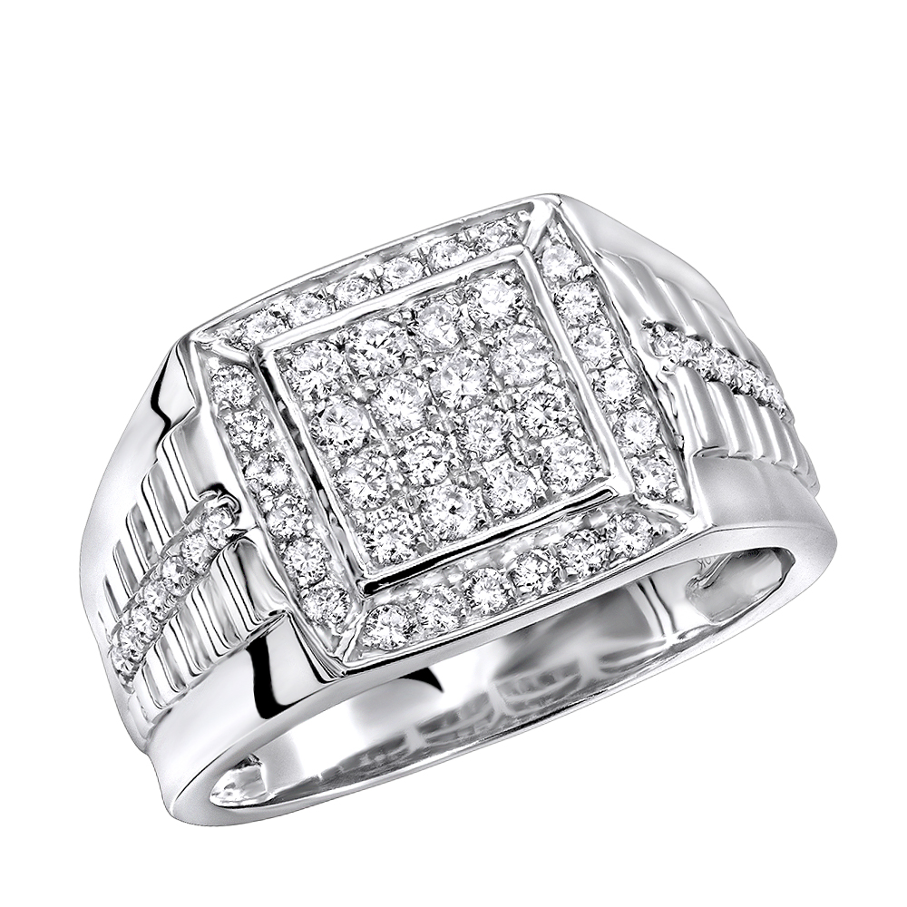 Mens Pinky Rings 1 Carat Diamond Ring For Men in 10k Gold Square Shape White Image