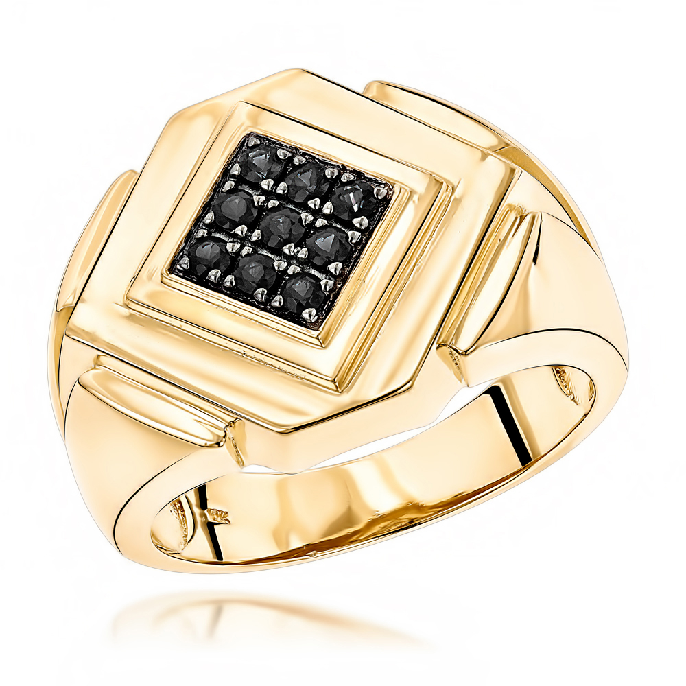 Mens Pinky RIngs: 14K Gold Black Diamond Ring for Men by Luxurman Yellow Image