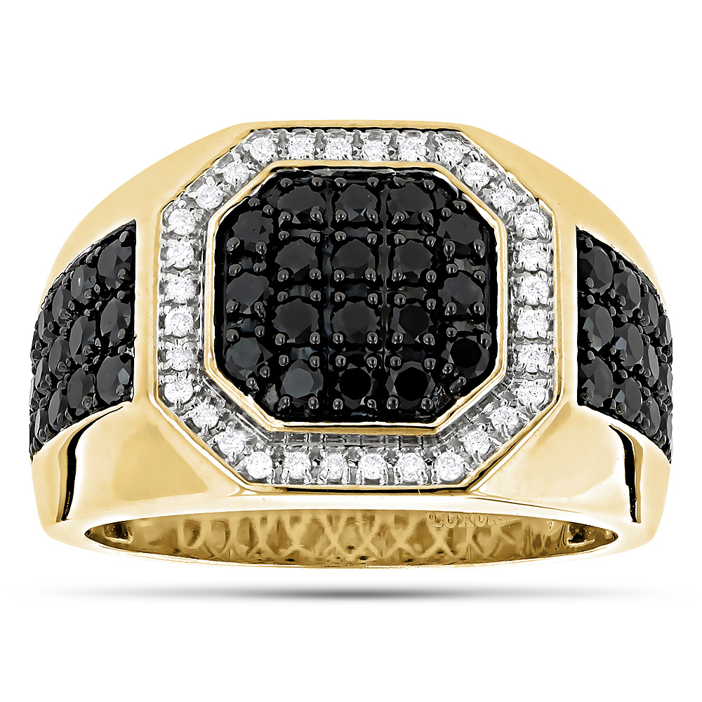 Mens Pinky Rings! 14K White and Black Diamond Ring for Men Pinky Ring 1.8ct Yellow Image