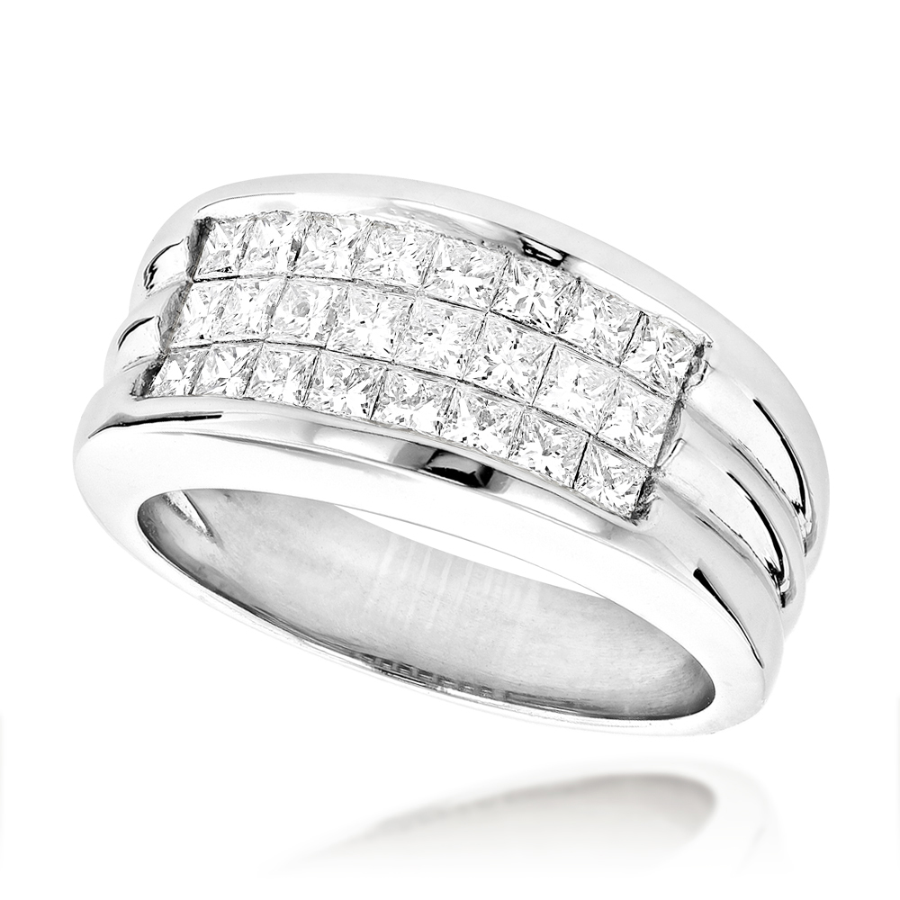 Mens Platinum Diamond Band Invisible Set Princess Cut Pinky Ring 2ct Main Image