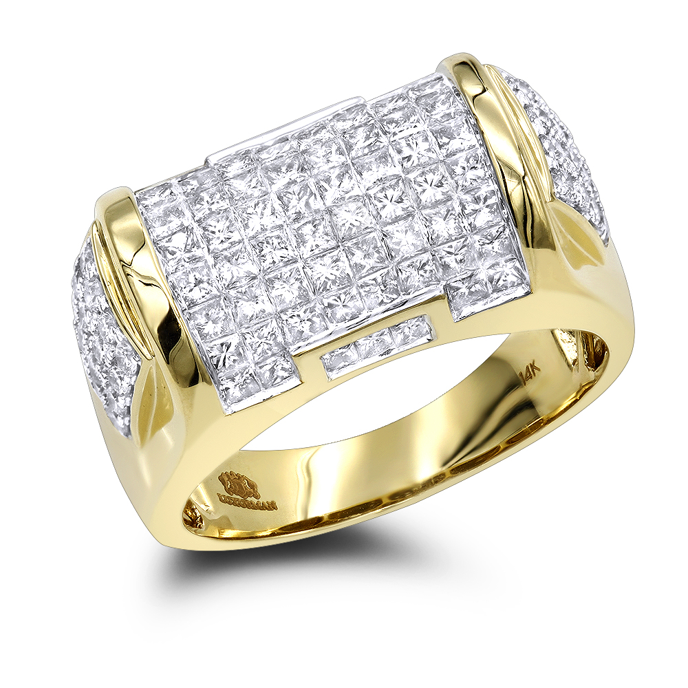 Mens Princess Cut Diamond Ring 3.62ct 14K Luxury Jewelry Yellow Image