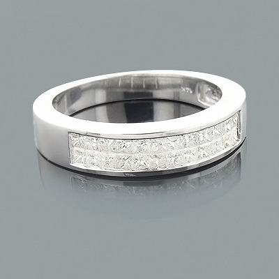 Mens Princess Cut Diamond Wedding Ring 1.39ct 14K Gold