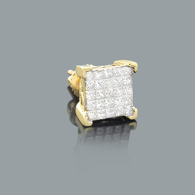 Mens Princess Cut Invisible Diamond Earring 0.69ct 14K Gold Main Image