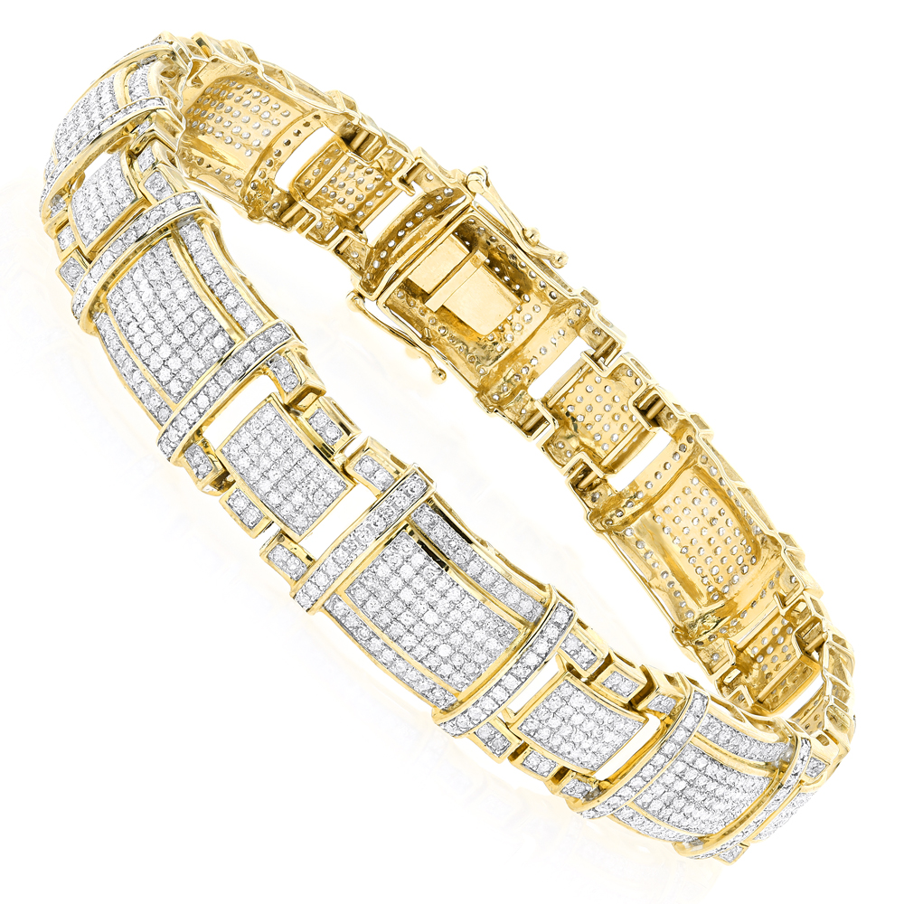 Mens Real Diamond Bracelet 10K Gold 4ct Yellow Image