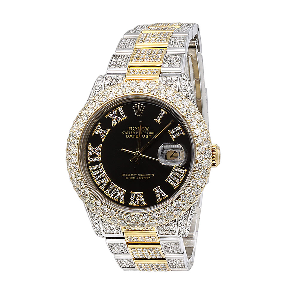 Iced Out Mens Diamond Rolex Watch DateJust II 41mm Yellow Gold Jubilee Bracelet Main Image