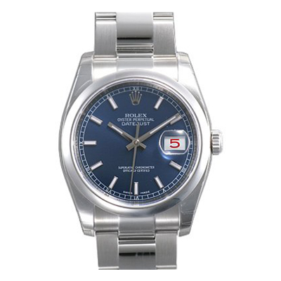 Mens ROLEX Oyster Perpetual Watch Datejust Blue Main Image