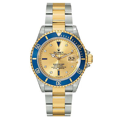 Mens ROLEX Oyster Submariner Watch with Diamonds Main Image
