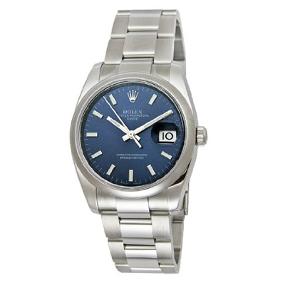 Mens ROLEX Oyster Watch Perpetual Date Blue Main Image