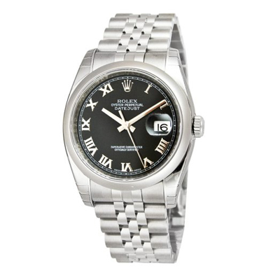 Mens ROLEX Oyster Watch Perpetual Datejust Black Dial