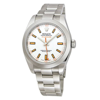 Mens ROLEX Oyster Watch Perpetual Milgauss White Main Image