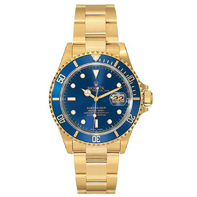 Mens ROLEX Oyster Watch Perpetual Submariner Blue Main Image