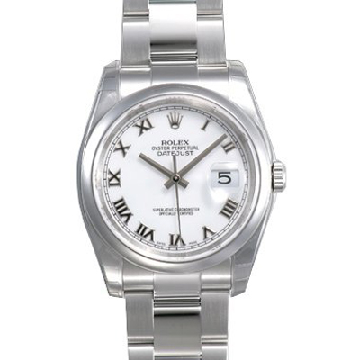 Mens ROLEX Oyster White Perpetual Datejust Watch Main Image