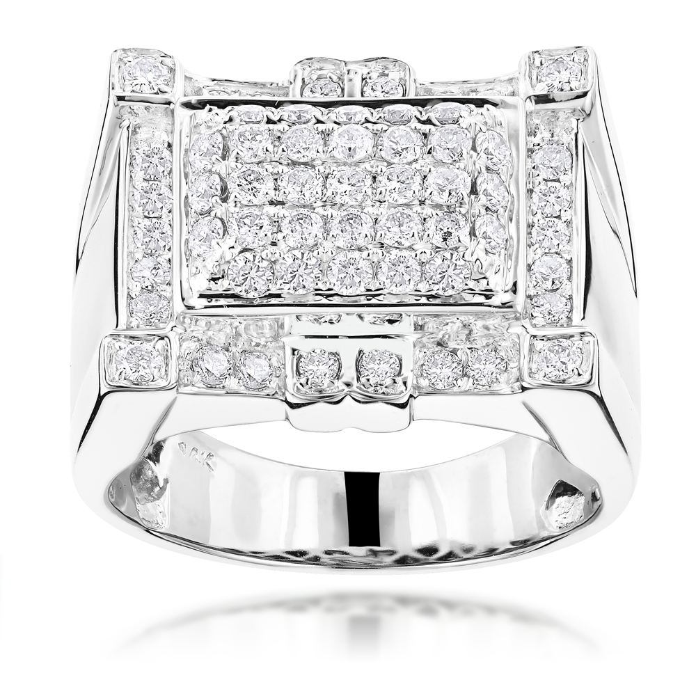 Mens Round Diamond Ring 1.55ct 14K