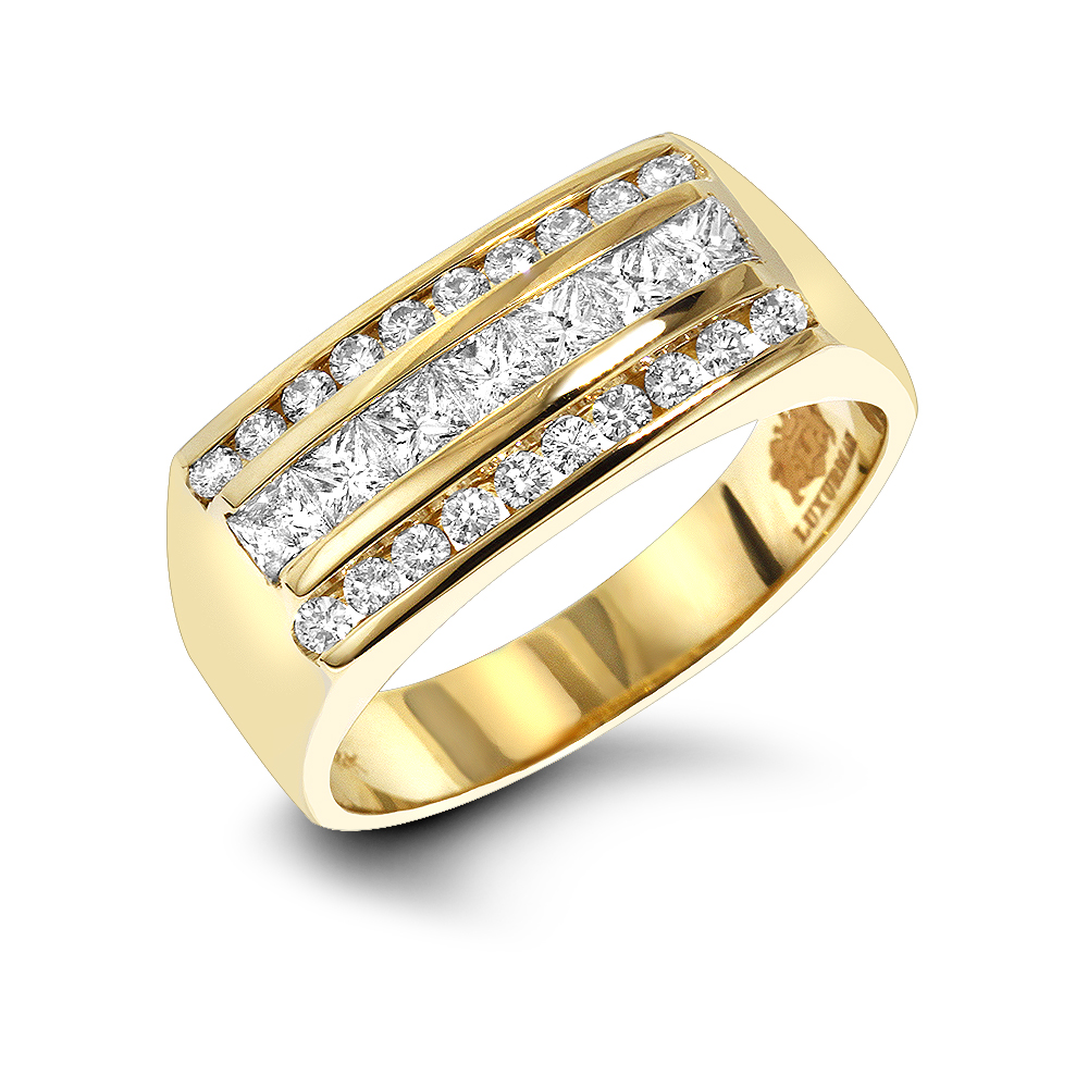 Mens Round & Princess Cut Diamond Ring 1.3ct 14K Gold Unique Wedding Band